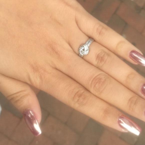 "3d2e7e37662c2 Pandora ""Sparkling love knot ring"" Sterling silver"